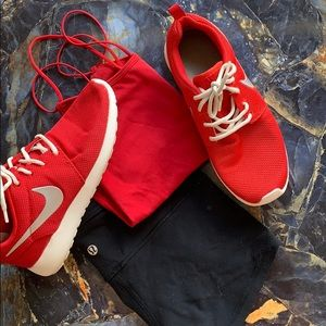 Red Nikes with metallic silver